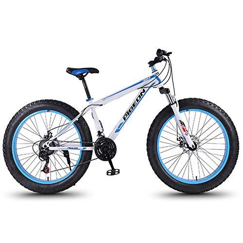 24 Speed-Mountain Bikes, 27,5-Zoll-Fat Tire Mountain Trail Bike, High-carbon Stahlrahmen, Männer Frauen All Terrain Mountain Bike mit Doppelscheibenbremse, Weiss FDWFN