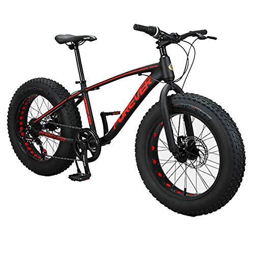 AZYQ Kinder Mountainbikes, 20 Zoll 9-Gang Fat Tire Anti-Rutsch-Bikes, Aluminiumrahmen Dual Disc Bremsrad, Hardtail Mountainbike, Rot,Schwarz