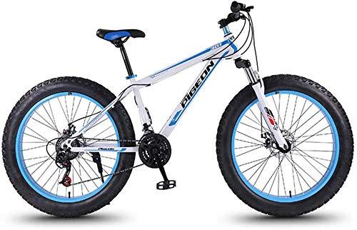 baozge 24-Gang-Mountainbikes 27 5-Zoll-Fat-Tire-Mountainbike-High-Carbon-Stahlrahmen Herren-All-Terrain-Mountainbike für Damen mit Doppelscheibenbremse Weiß