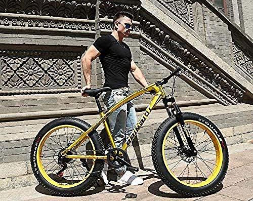 baozge Mountainbikes Doppelscheibenbremse Fat Tire Cruiser Bike Rahmen aus kohlenstoffhaltigem Stahl Verstellbarer Sitz Fahrrad Blau 24 Zoll 27-Gang-26 Zoll 7 Geschwindigkeit_rot
