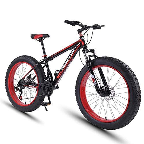 DJYD 24 Speed-Mountain Bikes, 27,5-Zoll-Fat Tire Mountain Trail Bike, High-Carbon Stahlrahmen, Männer Frauen All Terrain Mountain Bike mit Doppelscheibenbremse, Rot FDWFN