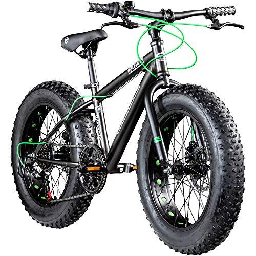 Galano Jugendrad 24 Zoll Fatbike Mountainbike Fatman 4.0 Fat Bike Jugendfahrrad (schwarz/blau, 36 cm)
