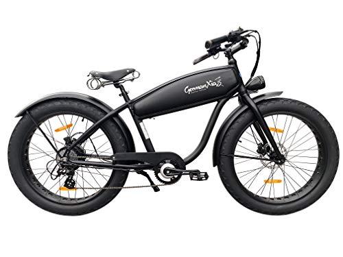 "GermanXia Aktion nur kurz Black Sinner 26"" Zoll E-Fatbike Beachcruiser Mattschwarz E-Bike, 25 km/h, Hydraulik-Scheibenbremse, 468Wh"