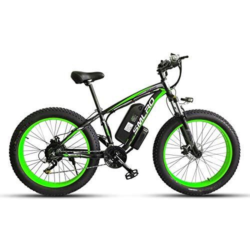 JUYUN Elektrofahrrad Mountainbike, 26 Zoll Fatbike E-Bike mit Professionell 21-Gang Nabenschaltung und 350W Heckmotor, 48V 15Ah Lithium-Akku, Scheibenbremsen,Black Green