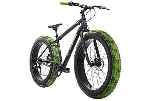 "KS Cycling Fatbike 26"" Crusher schwarz-grün Aluminiumrahmen 7 Gänge RH 46 cm"