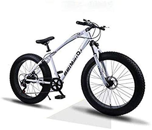 Leifeng Tower Leicht, Hardtail Mountain Bikes, Doppelscheibenbremse Fat Tire Bike Cruiser, High-Carbon Stahlrahmen, justierbare Sitzfahrrad Inventarfreigabe (Color : White, Size : 24 inch 7 Speed)