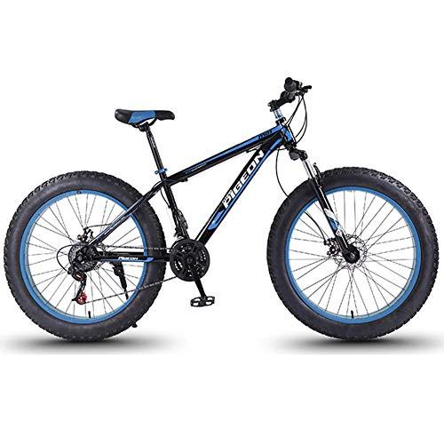 Nologo Fahrrad 24 Speed-Mountain Bikes, 27,5-Zoll-Fat Tire Mountain Trail Bike, High-Carbon Stahlrahmen, Männer Frauen All Terrain Mountain Bike mit Doppelscheibenbremse, Blau