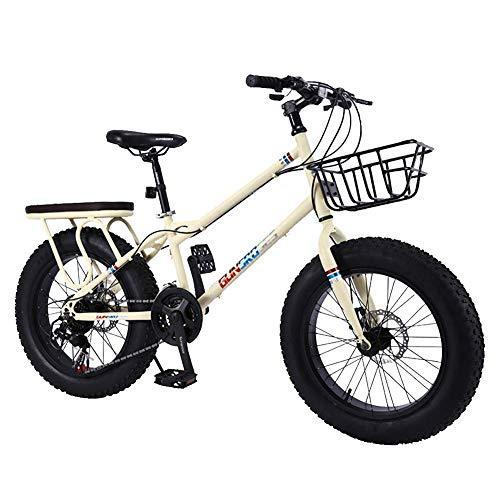 VVBGTS Faltbare Mountainbike 20inch 4.0 Fat Reifen, große Reifen, Variable Speed Stoßdämpfer Mountain Bikes, Schneemobile/ATVs, mit verbreiterter Rahmen (Farbe: Pink) (Color : Beige)