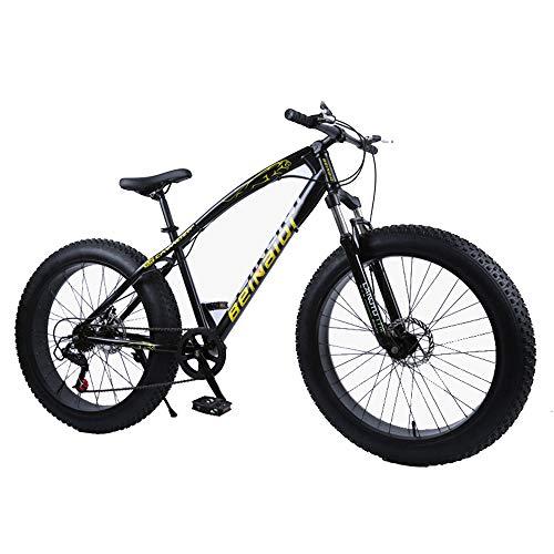 WQY 4.0 Fatbike 26 Zoll Mountainbike 7 Variable Geschwindigkeit Snowbike Stoßdämpfendes Strandrad Mountainbike Mit Großem Reifen,Schwarz,26in