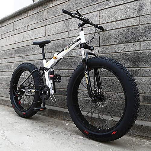 XIAOFEI Fahrrad Faltrad High Carbon Stahlrahmen Cycle Cruiser 21speed 24 Zoll 4,0 Fat Tire Schneesand Bike, Faltrad Fat Fire Reifen Mountainbike Fahrrad Adult Rennrad,D,24inch