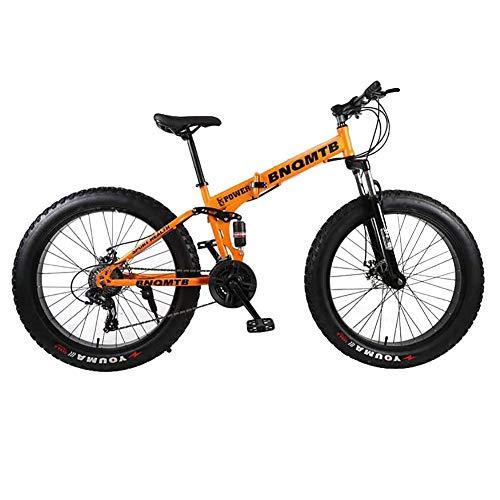 ZXYMUU 24 Zoll Fatbike, Faltbar Doppel Suspendiertes Mountainbike, Mechanischen Scheibenbremsen Und 27 Gang Antrieb Zum Radfahren Im Freien,Silber