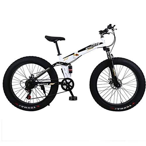 ZXYMUU 24/26 Zoll Fatbike Mountainbike, 24 Speed 4.0 Fat Tire Schnee Und Grassand Fahrrad Mit Doppelscheibenbremsen, Faltbar, Dämpfung,Black White,24in